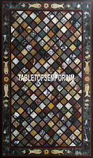 4'x2' Green Marble Dining Table Top Rare Stone Inlay Fish Art Home Mosaic Decor