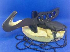 "Tactical Neck Knife Guthook/ Belt Cutter 6-1/2"" Black Stainless K Sheath w/Chain"