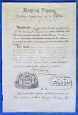 PERU document president Manuel Pardo autograph on appointment 1874