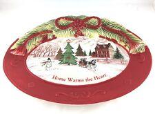 Fitz & Floyd Christmas Tray Plate Christmas Sleigh Ride Snowy House
