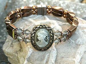 Copper Magnetic Hematite Victorian Cameo Bracelet Anklet Black Diamond Swarovski