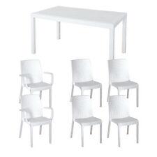 Tavolo da giardino 150x90 arredamento esterno bianco con 4 sedie e 2 poltroncine