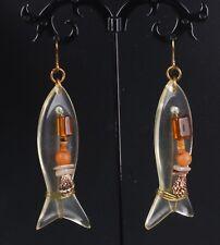 Large Handmade Fish Clear Acrylic Beaded Dangle Earrings Fashion 7349