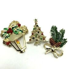 3 Vintage Christmas Brooch Pins Rhinestones Tree Lantern Pine Cones