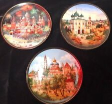 """lot of 3 Bradex listed Russian Collector Plates with Precious Metal Pigments 8"""""""
