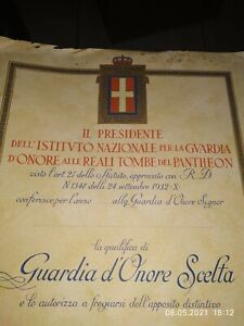 Diploma 1932 Guardia D'onore Alle Reali Tombe Del Pantheon Cm 28,8x40