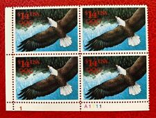 1991 US Stamp SC#2542 $14 Eagle in Flight Plate Block 4 CV:$100
