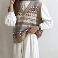 Fairisle Pattern Vintage Sleeveless Knit Jumper Vest Polo Style Brown Soft Warm