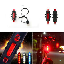 Rear Safety Warning Light Bike Tail 5 LED Bicycle Cycling USB Rechargeable Red