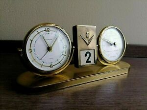 Vintage EUROPA Brass Perpetual Calendar with Clock and Barometer. Rare!