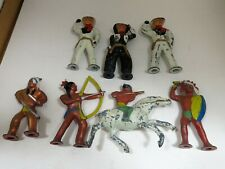 Barclay Vintage 7-Piece Toy Set  Metal Cowboy & Indian Figures