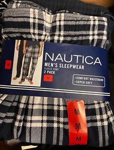 NEW 2 PACK Size 32 34 MEDIUM mens NAUTICA Blue Sleepwear Pant pajama plaid Check
