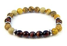 Unisex Mens Beaded Jasper Natural Stone Charm Yoga Bracelets Bangle Mala Beads