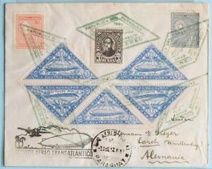 PARAGUAY via BRASIL to GERMANY 1932 ZEPPELIN, 2nd SAF Flight Airmail Reg Cover !