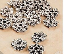 25 Silvertone Metal Snowflake Spacer Beads  8 mm Jewelry making Fun and Fancy