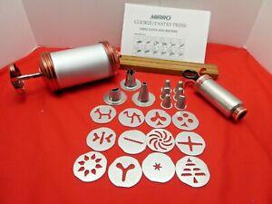MIRRO COOKIE PASTRY PRESS 12 Discs Decorating Press 9 Tips Recipes Rack