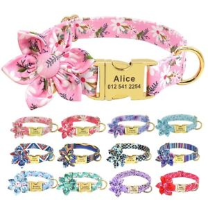 Cute Flower Personalized Pet Dog ID Collar Metal Buckle Name Free Engraved S M L