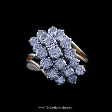 Stunning Diamond Waterfall Cluster Ring in Yellow Gold