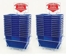 New 24 Standard Shopping Baskets - Chrome Handles - Metal Stand and Sign - Blue