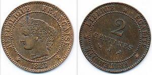 FRANCE 2 CENTIMES CERES 1887 SUPERBE