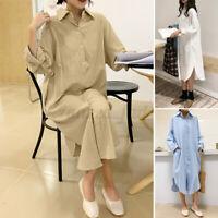 ZANZEA Damen Langarm Basic Shirtkleid Lose Hemd Lang Shirt Coats Tasche Dress