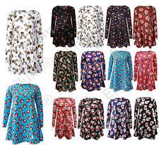 New Girls Ladies Christmas Santa Print Skater Mini Swing Dres Top Plus Size8-26