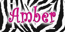 Zebra Design Auto License Plate Personalize name-Text In Any Color Jungle