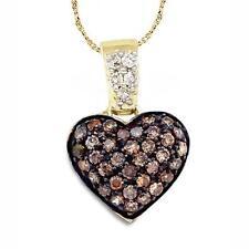Colgante con Diamante 10k Oro Amarillo Marrón Chocolate Corazón Macizo .38Ct