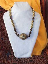 Hand Made Antique Trade Bead necklace w Big Brass Tibet Bead, Fancy Venitians