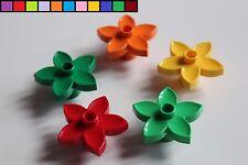 Lego Duplo - 5x Blume Blüte - bunt gemischt - gelb grün orange rot