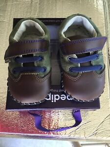 Pediped Infant Baby Boy Shoes 6-12 Gordon Olive Loafer Soft Soled Leather