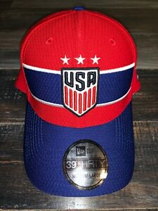 Men's New Era Team USA USWNT Red & Blue Fitted Soccer Cap Hat M/L NWT