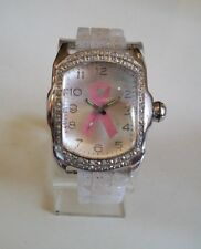 Geneva Pink Ribbon Breast Cancer Awareness Silicone Rhinestone Fashion Watch