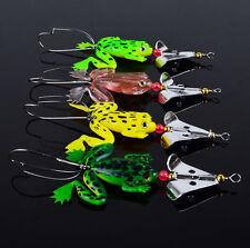 Wholesale 4pcs/pack Soft Rubber Frog Fishing Lures Bass CrankBait Tackle Hook