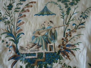 """Brunschwig & Fils """"River Song Embroidery"""" Aqua Taupe"""