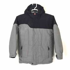 Quiksilver Boys Hooded Jacket Gray Long Sleeves Quilted Zip Pockets 100% Nylon L