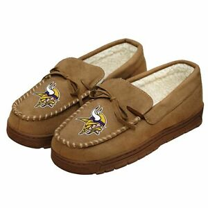 MINNESOTA VIKINGS Forever Collectibles-NFL-Men's Moccasin Slippers- Size 9-10