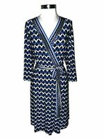 NEW ROZ & ALI Plus Size 1X A-Line Dress Black Blue White Geometric 3/4th Sleeve