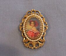 Vintage Rare Couture Pauline Rader Painted Cameo Portrait Pin BROOCH Pendant