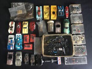 Large Vintage Aurora AFX Tyco HO Slot Car Body Shell Lot Plus Parts