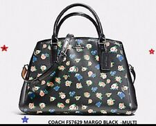 Coach F57629 Small Margot Carryall In Tea Rose Floral Print Black Multi lv NWT