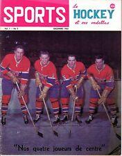 1962 Dec. Sports Le Hockey Magazine,Jean Believeau, Henri Richard, Canadiens ~Gd