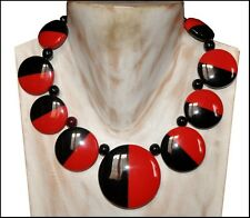 Black And Red Resin Disc Necklace French Designer Gorgeous Deco Shape Chunky