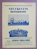 1950s Stockholm Restaurant Menu, Route US 22 Somerville, New Jersey