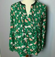Old Navy Women's Top Size Medium Tie Front Floral Green Pink White Navy Blue