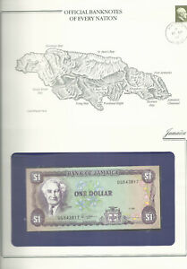 Banknotes of Every Nation Jamaica 1 Dollar 1989 UNC P-68Ac prefix DG