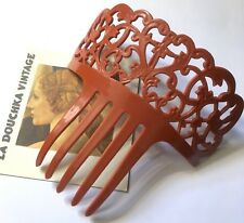 Spanish 1970s Peineta Mantilla Flamenco Large Hair Comb~ Terracotta Brown ~ New