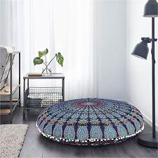 Delightful Ottoman Floral Cushion Cover Footstool Blue Mandala Design Pouf Soft