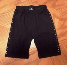 Girls Long Dance Shorts Size 6-8 Black with Rhinestones EUC!!!