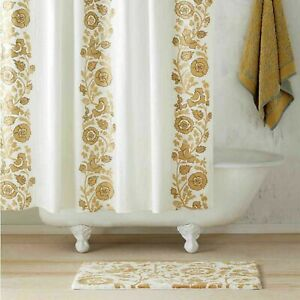 John Robshaw Textiles Jina Gold Floral Embroidered Fabric shower curtain $125